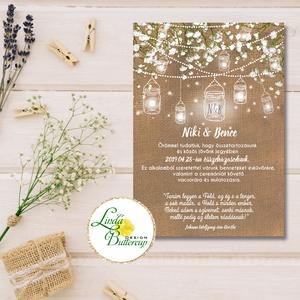 Fehér Virágos Esküvői meghívó, Esküvő, falu, Vintage Esküvői lap, lámpás, zsákvászon, burlap, Rusztikus, Bohém, , Esküvő, Meghívó, Meghívó & Kártya, Minőségi Virágos Esküvői Meghívó  * MEGHÍVÓ BORÍTÉKKAL:  Meghívó lap, egy oldalas nyomtatás: 10cm x ..., Meska