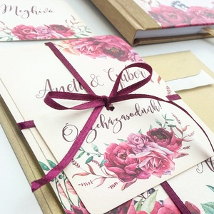Bordó Esküvői meghívó, Burgundy, Őszi Rózsás meghívó, rózsa, elegáns, romantikus, virágos, őszi meghívó, padlizsán, Esküvő, Meghívó, Meghívó & Kártya, Minőségi Virágos Esküvői  Meghívó  * MEGHÍVÓ CSOMAG BORÍTÉKKAL: - 1.  -Meghívó lap, egy oldalas: kb...., Meska