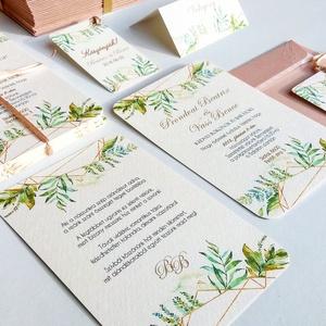 Greenery Meghívó, Geometriai Esküvői meghívó, Természetközeli, natúr, vízfesték, Esküvői kártya, virágos, vadvirág, zöld, Esküvő, Meghívó & Kártya, Meghívó, Fotó, grafika, rajz, illusztráció, Papírművészet, Meska