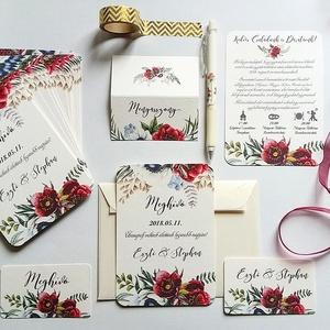 Bordó virágos meghívó, Rusztikus Meghívó, Bohó Esküvői meghívó, bohém, zöld leveles, levél, marsala meghívó, piros, Esküvő, Meghívó, Meghívó & Kártya, Minőségi Esküvői Virágos Meghívó  * MEGHÍVÓ CSOMAG: - Meghívó lap, DUPLA oldalas nyomtatással: kb.: ..., Meska