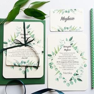 Zöld Keresztelő Meghívó, Greenery meghívó, eukaliptusz, zöld leveles, levél, natúr meghívó, természetközeli, erdei, erdő, Otthon & lakás, Naptár, képeslap, album, Gyerek & játék, Baba-mama kellék, Fotó, grafika, rajz, illusztráció, Papírművészet, Minőségi Meghívó\n* MEGHÍVÓ CSOMAG BORÍTÉKKAL:\n- Meghívó egy lap, egy oldalas: kb.: 14cm x 10cm\n- BOR..., Meska
