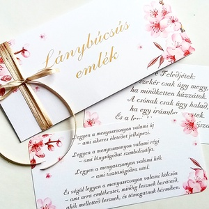 Cseresznyafa virág, lánybúcsú ajándék, Pénzátadó boríték, Nászajándék, Gratulálunk képeslap, Esküvői Gratuláció, Esküvő, Nászajándék, Meghívó, ültetőkártya, köszönőajándék, Otthon & lakás, Fotó, grafika, rajz, illusztráció, Papírművészet, Igényes Egyedi Személyre szóló Pénzátadó Zsebes Boríték Szalaggal átkötve.\n\nBármilyen más szöveg is ..., Meska