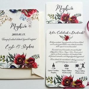 Bordó virágos meghívó, Rusztikus Meghívó, Bohó Esküvői meghívó, bohém, zöld leveles, levél, marsala meghívó, piros, Esküvő, Meghívó, Meghívó & Kártya, Minőségi Esküvői Virágos Meghívó  * MEGHÍVÓ CSOMAG BORÍTÉKKAL: - 1. -Meghívó lap, egy oldalas: kb.: ..., Meska