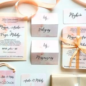 Modern, elegáns Esküvői meghívó, Nyári Esküvő, pasztell, romantikus, tavaszi, barack, meghívó, fekete, vízfesték, Esküvő, Meghívó, Meghívó & Kártya, Minőségi  Esküvői  Meghívó  * MEGHÍVÓ CSOMAG BORÍTÉKKAL: - Meghívó egy lap, egy oldalas: kb.: 14cm x..., Meska