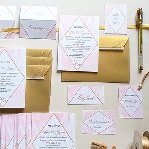 Geometrikus Modern Esküvői meghívó, Márvány meghívó, marble, arany, pink, geometriai forma,Esküvői lap, rombusz, krém, Esküvő, Meghívó, Meghívó & Kártya, Fotó, grafika, rajz, illusztráció, Papírművészet, Meska