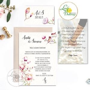 Fényképes meghívó, Magnólia Esküvői meghívó szett 3 darabos+boírték, Elegáns meghívó, Vintage Esküvő,, Esküvő, Meghívó, Meghívó & Kártya, Minőségi Virágos Esküvői  Meghívó  * MEGHÍVÓ CSOMAG BORÍTÉKKAL: - 1.  -Meghívó lap, egy oldalas: kb...., Meska