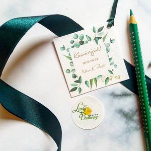 Köszönetkártya,  virágos natúr, esküvői dekoráció, virágkoszorú, virágos, greenery, négyzet, címke, felirat, Esküvő, Köszönőajándék, Emlék & Ajándék, Köszönetkártya, ajándékkísérő lyukasztva szalaggal kötve  * MÉRETE: kb: 5.1 x 5.1 cm Más méret is ké..., Meska