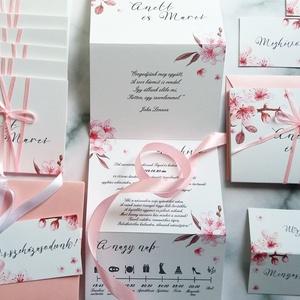 ÚJ harmónika hajtott meghívó, Esküvői meghívó, cseresznye virág, tavaszi, virágos, meghívó, rózsaszín, Esküvő, Meghívó, Meghívó & Kártya, Fotó, grafika, rajz, illusztráció, Papírművészet, Meska
