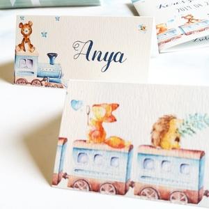 szülinapi buli ültető kártya, keresztelő, születésnap, babköszöntő, babaváró, kisfiú, állatos, dekoráció, ültető, Otthon & lakás, Gyerek & játék, Baba-mama kellék, Gyerekszoba, Fotó, grafika, rajz, illusztráció, Papírművészet, Igényes, sátras, két oldalas asztali ültetőkártya\n\nMÉRETE összehajtva: kb: 4.5x9.2cm\n\n* SZERKESZTÉSI..., Meska