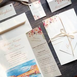 ÚJ ablak kinyithatós meghívó, Esküvői meghívó, virágos, nyári, tavaszi, egyedimeghívó, rajz, festmény, pálmaház, tata, Esküvő, Meghívó, Meghívó & Kártya, Minőségi különleges kivitelezésű ablakos-kinyithatós meghívó  * MEGHÍVÓ CSOMAG BORÍTÉKKAL: -   Ablak..., Meska