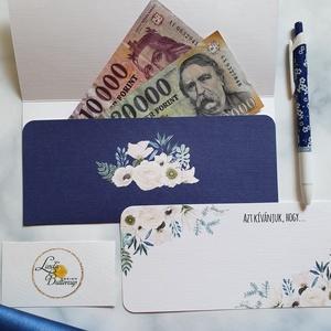 """Pénzátadó boríték, pénz átadó lap, Nászajándék, Gratulálunk képeslap, Esküvői Gratuláció, pénz lap, Nászajándék, Emlék & Ajándék, Esküvő, Fotó, grafika, rajz, illusztráció, Papírművészet, Pénzátadó boríték - szalaggal kötve\n+ üres \""""Azt kívánjuk Nektek, hogy...\"""" kísérő lap a saját kézzel ..., Meska"""