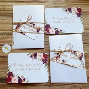 2db-os szett, Örömszülő lap, örömanya, örömapa, Esküvői Képeslap, virágos, felkérő, köszönet kártya, rózsás, bordó, Otthon & Lakás, Képeslap & Levélpapír, Papír írószer, Örömapa / Örömanya lap A/6, borítékkal.  2db ÖRÖMSZÜLŐ KÁRTYA ** SZÖVEG VÁLTOZTATHATÓ** Vásárláskor ..., Meska
