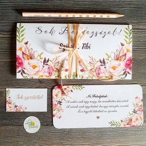 Pénzátadó boríték, pénz átadó lap, Nászajándék, Gratulálunk képeslap, Esküvői Gratuláció, pénz lap, virágos, egyedi, Esküvő, Nászajándék, Emlék & Ajándék, Pénzátadó boríték - szalaggal kötve +kísérő lap, fix idézettel.  FONTOS: A pénzátadónak az elejére a..., Meska