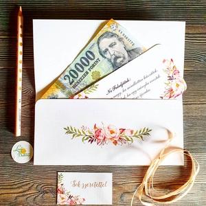 Pénzátadó boríték, pénz átadó lap, Nászajándék, Gratulálunk képeslap, Esküvői Gratuláció, pénz lap, virágos, egyedi, Esküvő, Nászajándék, Meghívó, ültetőkártya, köszönőajándék, Fotó, grafika, rajz, illusztráció, Papírművészet, Pénzátadó boríték - szalaggal kötve\n+kísérő lap, fix idézettel.\n\nFONTOS:\nA pénzátadónak az elejére a..., Meska