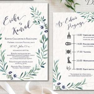 Greenery Esküvői meghívó, Levélkoszorú, Natúr meghívó, erdei, natur, zöld levelek, természetközeli, fehér virág, Esküvő, Meghívó, Meghívó & Kártya, Fotó, grafika, rajz, illusztráció, Papírművészet, Meska