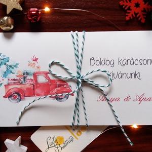 Karácsonyi ajándék, Pénzátadó boríték, utalvány átadó, céges ajándék, pénz, képeslap, egyedi, személyre szóló, autó, Karácsonyi képeslap, Karácsony & Mikulás, Otthon & Lakás, Fotó, grafika, rajz, illusztráció, Papírművészet, Igényes egyedi, személyre szóló Pénz-Átadó zsebes boríték szalaggal átkötve.\n\nA Szöveg változtatható..., Meska