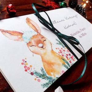 nyuszis, Karácsonyi ajándék, Pénzátadó boríték, utalvány átadó, céges ajándék, pénz, képeslap, egyedi, személyre szóló, Otthon & lakás, Naptár, képeslap, album, Dekoráció, Ajándékkísérő, Ünnepi dekoráció, Karácsony, Fotó, grafika, rajz, illusztráció, Papírművészet, Igényes egyedi, személyre szóló Pénz-Átadó zsebes boríték szalaggal átkötve.\n\nA Szöveg változtatható..., Meska