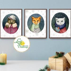 3db, A4-es, Vintage Karácsonyi Kép, Adventi Képeslap, Karácsonyi,  Karácsonyi print, állatos, téli, Karácsonyi képeslap, Karácsony & Mikulás, Otthon & Lakás, Fotó, grafika, rajz, illusztráció, Mindenmás, Állatos Karácsonyi kép szett 3db\n\nMéret: A4 (210x297mm)\n\n250 gsm matt, művészpapír\n\n\nCelofánba és vé..., Meska