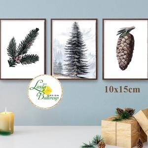 3db kép, 10x15cm, Vintage karácsonyi kép, dekoráció, dekor, falikép, Adventi, fenyő, toboz, fenyőfa, botanikus, növény, Karácsonyi dekoráció, Karácsony & Mikulás, Otthon & Lakás, Fotó, grafika, rajz, illusztráció, Mindenmás, Vintage Karácsonyi kép dekoráció, 3db Print Lap, Nyomtatás \n3 darabos szett: 10x15cm\n\n* KERET NÉLKÜL..., Meska