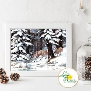 Régi Vintage karácsonyi kép nyomat, 10x15cm, szarvas, dekoráció, dekor, falikép, Adventi, fenyő, fenyőfa, havas, erdő, Karácsonyi dekoráció, Karácsony & Mikulás, Otthon & Lakás, Fotó, grafika, rajz, illusztráció, Mindenmás, Vintage Karácsonyi kép 10x15cm Print Lap, Nyomtatás \n\n* KERET NÉLKÜL! *\n\n* MÉRET: 10x15cm\n\n* ANYAG: ..., Meska