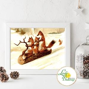 Régi Vintage karácsonyi kép nyomat, 10x15cm, róka, dekoráció, dekor, falikép, Adventi, havas, erdő, szánkó, állatos, Karácsonyi dekoráció, Karácsony & Mikulás, Otthon & Lakás, Fotó, grafika, rajz, illusztráció, Mindenmás, Vintage Karácsonyi kép 10x15cm Print Lap, Nyomtatás \n\n* KERET NÉLKÜL! *\n\n* MÉRET: 10x15cm\n\n* ANYAG: ..., Meska