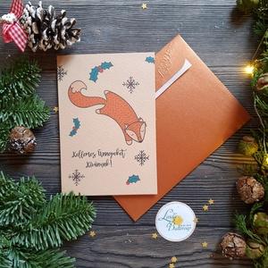 Karácsonyi Képeslap, Állatos, Róka, Adventi, Karácsonyi üdvözlőlap, Ünnepi képeslap, téli állat, Karácsonyi képeslap, Karácsony & Mikulás, Otthon & Lakás, Fotó, grafika, rajz, illusztráció, Mindenmás, A/6-os méretű Igényes kinyitható Egyedi Karácsonyi képeslap, borítékkal.\n\nKinyitható, belül üres saj..., Meska