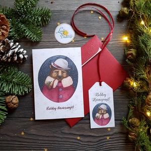 Karácsonyi Képeslap, Vintage karácsony, Állatos, Adventi üdvözlőlap, Ünnepi lap, hó, klasszikus, medve, róka, szarvas, Karácsony, Karácsonyi ajándékozás, Karácsonyi képeslap, üdvözlőlap, ajándékkísérő, Fotó, grafika, rajz, illusztráció, Mindenmás, Meska