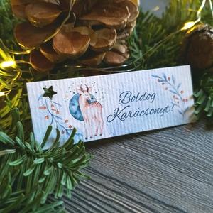 Karácsonyi Ajándékkísérő, őz, szarvas, kék, Adventi Kártya, Mikulás, Ünnepi, kiskártya, ajándékkártya (LindaButtercup) - Meska.hu