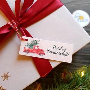 Karácsonyi Ajándékkísérő, piros autó, piros kamion, fenyőfa, red car, Adventi Kártya, Ünnepi, kiskártya, ajándékkártya, Karácsonyi képeslap, Karácsony & Mikulás, Otthon & Lakás, Fotó, grafika, rajz, illusztráció, Mindenmás, Egyedi Ajándékkísérő\n\n* Kártya mérete: Kb:  7.5 x 3cm\n* Hátoldal üres\n* Kötöző hossza kb.: 10cm\n\n250..., Meska