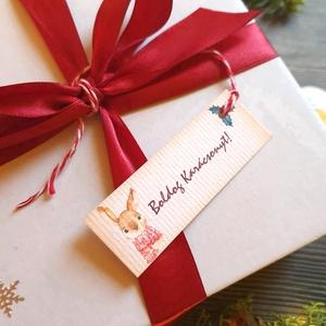 Karácsonyi Ajándékkísérő, nyuszi, nyúl nyuszis, Adventi Kártya, Mikulás, Ünnepi, kiskártya, ajándékkártya, téli, Otthon & lakás, Dekoráció, Ünnepi dekoráció, Karácsony, Ajándékkísérő, Naptár, képeslap, album, Ajándékkísérő, Fotó, grafika, rajz, illusztráció, Mindenmás, Egyedi Ajándékkísérő\n\n* Kártya mérete: Kb:  7.5 x 3cm\n* Hátoldal üres\n* Kötöző hossza kb.: 10cm\n\n250..., Meska