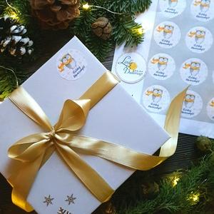 MATRICA, 20db, bagoly, körmatrica, kör, címke, Karácsonyi Ajándékkísérő,  cédula, vignetta, levonó, sticker, csomagolás (LindaButtercup) - Meska.hu