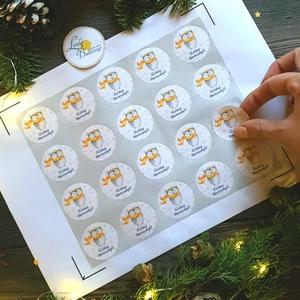 MATRICA, 20db, bagoly, körmatrica, kör, címke, Karácsonyi Ajándékkísérő,  cédula, vignetta, levonó, sticker, csomagolás, Karácsonyi képeslap, Karácsony & Mikulás, Otthon & Lakás, Fotó, grafika, rajz, illusztráció, Mindenmás, 20db Karácsonyi Körmatrica\n\nMATRICA KIVITELEZÉSE:\n* A4-es matrica lapon\n* Könnyen lehúzható\n* Minimu..., Meska