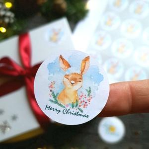 MATRICA, 20db, nyuszi, körmatrica, kör, címke, Karácsonyi Ajándékkísérő,  cédula, vignetta, levonó, sticker, csomagolás, Karácsonyi képeslap, Karácsony & Mikulás, Otthon & Lakás, Fotó, grafika, rajz, illusztráció, Mindenmás, 20db Karácsonyi Körmatrica\n\nMATRICA KIVITELEZÉSE:\n* A4-es matrica lapon\n* Könnyen lehúzható\n* Minimu..., Meska