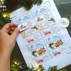 MATRICA, 14db, egyedi, névreszóló, nyuszi, nyúl, címke, Karácsonyi Ajándékkísérő, cédula, vignetta, levonó, sticker, Karácsonyi képeslap, Karácsony & Mikulás, Otthon & Lakás, Fotó, grafika, rajz, illusztráció, Mindenmás, 14db Egyedi Karácsonyi Téglalap Matrica\n\nMATRICA KIVITELEZÉSE:\n* A4-es matrica lapon\n* Könnyen lehúz..., Meska
