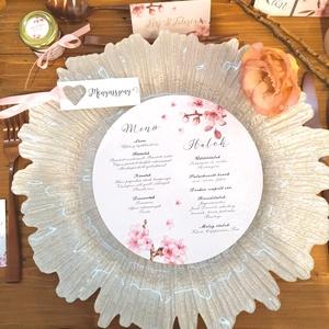 Esküvői kör menü, menü, esküvői dekoráció, cseresznyeviárg, rózsaszín, Esküvő, Meghívó, ültetőkártya, köszönőajándék, Esküvői dekoráció, Fotó, grafika, rajz, illusztráció, Papírművészet, Esküvői kör menü  Esküvői Menükártya átmérő: 19cm  Szerkesztési költség 1500 Ft Az egyszeri szerkes..., Meska