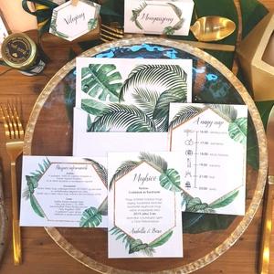 Trópusi, nyári, esküvői meghívó, bélelt boríték, pálmaleveles, geometriai, geometrikus, hatszög, zöld, arany, Esküvő, Meghívó, Meghívó & Kártya, Esküvői Meghívó szett  * MEGHÍVÓ CSOMAG BÉLELT BORÍTÉKKAL: - 1.  -Meghívó lap, egy oldalas: kb.:  9...., Meska