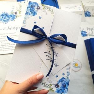 Kék virágos Esküvői meghívó, Ablakos kinyithatós meghívó, Esküvő, Meghívó, Meghívó & Kártya, Fotó, grafika, rajz, illusztráció, Papírművészet, Meska