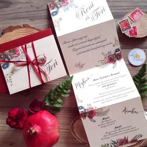ÚJ harmónika hajtott meghívó, Őszi Esküvői meghívó, Rusztikus meghívó, Bohém, Natúr meghívó, erdei, természet közeli, Esküvő, Meghívó, Meghívó & Kártya, Fotó, grafika, rajz, illusztráció, Papírművészet, Meska