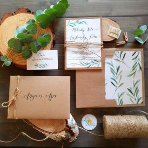 Greenery Meghívó, zöld Esküvői meghívó, oliva, eukaliptusz, mediterrán, zöld leveles, natúr meghívó, természetközeli, Esküvő, Meghívó, ültetőkártya, köszönőajándék, Otthon & lakás, Naptár, képeslap, album, Képeslap, levélpapír, Fotó, grafika, rajz, illusztráció, Papírművészet, Esküvői Natúr meghívó szett kraft-barna papírra ragasztva, bélelt, kézzel készített borítékkal együt..., Meska