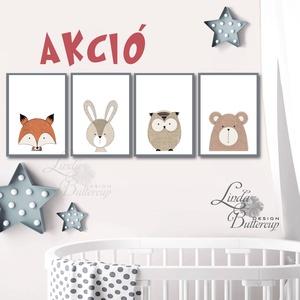 Állatos, Babaszoba fali dekoráció, maci, róka, bagoly, nyuszi, nyúl, fali kép, minimal design, A4 méret, Kép & Falikép, Dekoráció, Otthon & Lakás, Festészet, Fotó, grafika, rajz, illusztráció, 4 db print szett\n\n* KERET NÉLKÜL! *\n\n* MÉRET: A4\n\n* ANYAG:\n250g-os kiváló minőségű natúr finoman tex..., Meska