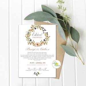Érintésmentes digitális meghívó, őszi meghívó, esküvői meghívó, Greenery, levélkozorú, virágkoszorú, Esküvő, Meghívó, Meghívó & Kártya, ÉRINTÉSMENTES ŐSZI MEGHÍVÓK   DIGITÁLIS MEGHÍVÓ / JPG FILE, HÁTTÉRREL EGYÜTT  hogy az új dátumotokat..., Meska