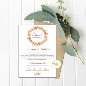 Érintésmentes digitális meghívó, őszi meghívó, esküvői meghívó, barack virágkoszorú, Esküvő, Meghívó, Meghívó & Kártya, ÉRINTÉSMENTES ŐSZI MEGHÍVÓK   DIGITÁLIS MEGHÍVÓ / JPG FILE, HÁTTÉRREL EGYÜTT  hogy az új dátumotokat..., Meska
