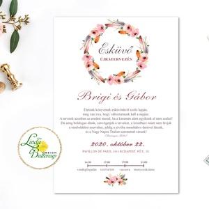 Érintésmentes digitális meghívó, őszi meghívó, esküvői meghívó, barack, pasztell, virágkoszorú, Esküvő, Meghívó, Meghívó & Kártya, ÉRINTÉSMENTES ŐSZI MEGHÍVÓK   DIGITÁLIS MEGHÍVÓ / JPG FILE, HÁTTÉRREL EGYÜTT  hogy az új dátumotokat..., Meska