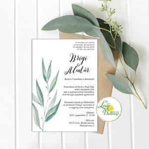 Greenery esküvői meghívó, zöld levél ág, Esküvő, Meghívó, ültetőkártya, köszönőajándék, Esküvői dekoráció, Fotó, grafika, rajz, illusztráció, Papírművészet, Minőségi  Esküvői  Meghívó\n\n* MEGHÍVÓ CSOMAG BORÍTÉKKAL:\n- Meghívó egy lap, egy oldalas: kb.: (~A6) ..., Meska