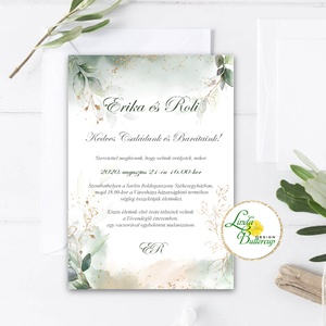 Greenery - Núd vízfesték esküvői meghívó, zöld leveles, vízfesték hatás, Esküvő, Meghívó, ültetőkártya, köszönőajándék, Esküvői dekoráció, Fotó, grafika, rajz, illusztráció, Papírművészet, Minőségi  Esküvői  Meghívó\n\n* MEGHÍVÓ CSOMAG BORÍTÉKKAL:\n- Meghívó egy lap, egy oldalas: kb.: (~A6) ..., Meska