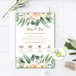 Greenery - Barack esküvői meghívó, zöld leveles, levélkoszorú, barack virágos, Esküvő, Meghívó, ültetőkártya, köszönőajándék, Esküvői dekoráció, Fotó, grafika, rajz, illusztráció, Papírművészet, Minőségi  Esküvői  Meghívó\n\n* MEGHÍVÓ CSOMAG BORÍTÉKKAL:\n- Meghívó egy lap, egy oldalas: kb.: (~A6) ..., Meska