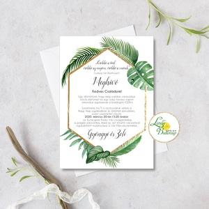Pálma leveles, trópusi esküvői meghívó, arany geometriai meghívó, arany keret, hatszög, Esküvő, Meghívó, ültetőkártya, köszönőajándék, Esküvői dekoráció, Fotó, grafika, rajz, illusztráció, Papírművészet, Minőségi  Esküvői  Meghívó\n\n* MEGHÍVÓ CSOMAG BORÍTÉKKAL:\n- Meghívó egy lap, egy oldalas: kb.: (~A6) ..., Meska