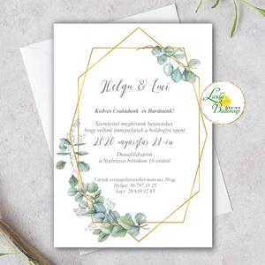 eukaliptusz leveles, greenery esküvői meghívó, arany geometriai meghívó, arany keret, geometrikus elemek - esküvő - meghívó & kártya - meghívó - Meska.hu