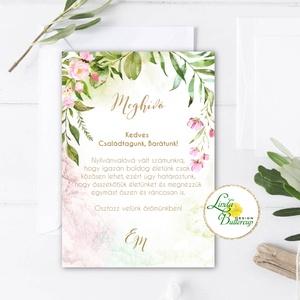 Titkos kert, Pink virágos vízfesték meghívó, erdei leveles, greenery esküvői meghívó, secret garden - esküvő - meghívó & kártya - meghívó - Meska.hu