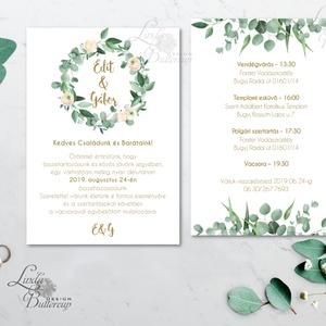 Levélkoszorú Greenery, Barack virágos esküvői meghívó, zöld leveles, , Esküvő, Meghívó, Meghívó & Kártya, Fotó, grafika, rajz, illusztráció, Papírművészet, Meska